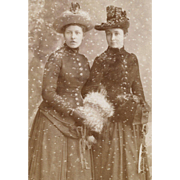 CDV Photo Ice Skates, Snow Special Effects, Ladies in Winter Ensembles 1870s