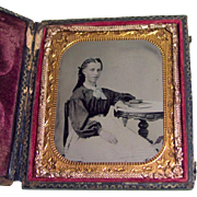 1860s TAX STAMP Cased TINTYPE Young CIVIL WAR Lady PERIOD FASHION Posing with BOOKS