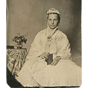 Haunting PHOTOGRAPHIC Image TINTED TINTYPE Young Girl in WHITE Holding ALBUM or CASED PHOTO