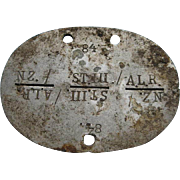 German Dog Tag Id Disc. genuine, from metal detecting: 84. NZ./STIII./A.L.R. German Division WW2 Dog tag WO2