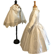 Antique two-part cotton children dress or for a large doll