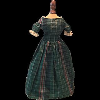 Very rare Antique 1840 silk Doll Dress