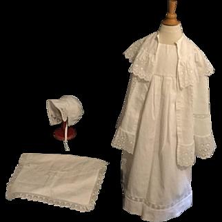 Antique 4 pieces French Pique Baby Dress ca. 1890