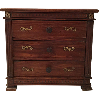 Rare Early wooden Miniature Commode 19th century