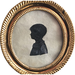 Rare  Empire/Regeny girls Miniature/Silouette, France, ca. 1810 or earlier