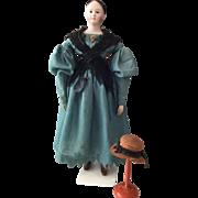 Exquisite Museums Doll with original Biedermeier Dress, ca. 1830
