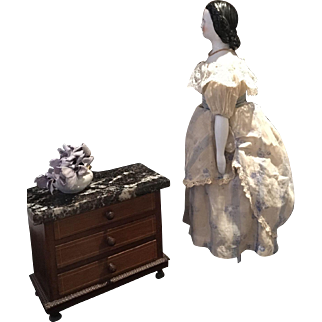 Antique Chinahead Doll ca.1860 with antique Commode