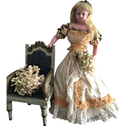 Antique Pierotti Pure Wax Doll with long hair