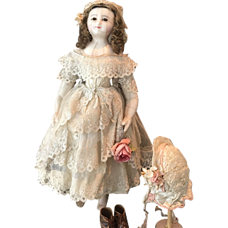 Antique Wax Over Doll, ca. 1850, all original