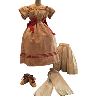 Antique Doll Dress with Shoes and Underwear ca. 1850
