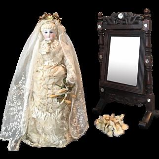 Antique Parian Doll with original Wedding Dress ca. 1880