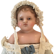 Wonderful antique Pierotti Wax Doll with rare brown eyes