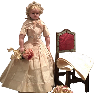 Antique English Pure Wax Doll , ca. 1860 in very good Condition