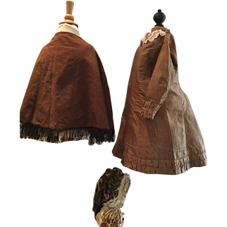 Wonderful Dress with cape and bonnet for a large Doll or a little Girl ca. 1870
