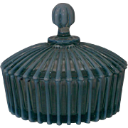 Beatty Rib Blue Opalescent Covered Butter Dish