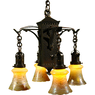Hammered Arts and Crafts Four Light, with Quezal Hearts and Vine Shades