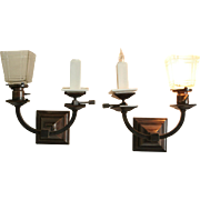 Pair Beardslee Arts and Crafts Gas and Electric Sconces