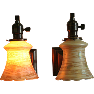 Pair Arts and Crafts Sconces by Beardslee with Quezal Shades