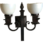 Pair Beardslee Arts and Crafts Sconces with Steuben Art Glass