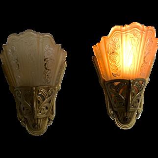 """Lightolier """"Stylux"""" Art Deco Sconces"""