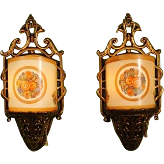 "1928 ""Constantine"" Pattern Sconces by Lightolier"