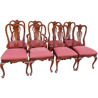 Vntage solid cherry set of 8 queen anne chairs made by Dixie Furniture.