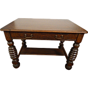 Antique oak library table / desk with a drawer