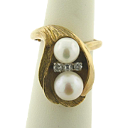 Art Nouveau Yellow Gold Diamond Pearl Oyster Ring