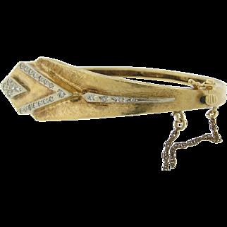 Lovely Vintage 14K Diamonds Bangle Bracelet