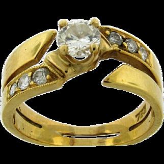 Lovely Vintage 18k Gold Diamonds Ring .40 C Center Stone