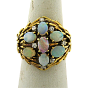 Exquisite Vintage Designer Fiery Opals Diamonds 14k Yellow Gold Ring