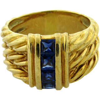 Vintage David Yurman 14k Yellow Gold Sapphire Cable Ring