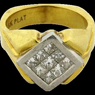 Vintage Designer 18k Yellow Gold Platinum Princess Cut Diamonds Ring