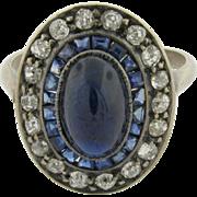 Vintage 18k White Gold Sapphires Diamonds Ring