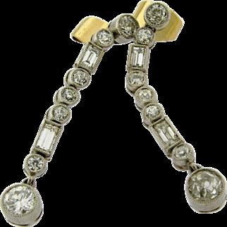 Pair Of Original Art Deco Platinum Round Baguette Diamond Earrings