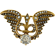 Art Nouveau Winged Fleur De Lis Seed Pearl 14k Gold .80 C Diamond Pendant Brooch