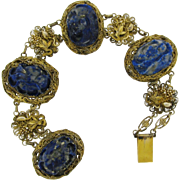 Antique Gilt Chinese Silver Carved Lapis Filagree Bracelet