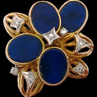 Vintage 14k Yellow Gold Lapiz Diamond Stylized Flower Ring