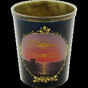 Vintage Russian Enamel 875 Silver Ocean Scene Cup