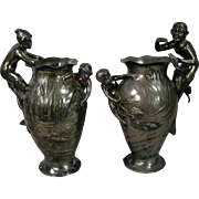 Exquisite Pair of Antique WMF Mermaid & Merman Vases