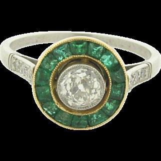 Antique Art Deco .53 Carat Diamond Emerald Platinum Ring