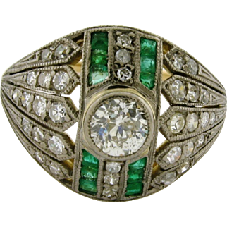 Antique Art Deco Original Diamond Emerald 18k Yellow Gold Platinum Ring