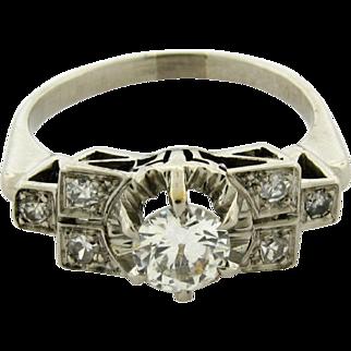 Original Art Deco Diamond Platinum .60 Carat Bar Design Ring