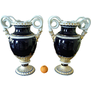 Monumental Pair Of Antique Meissen Porcelain Blue Gold Snake Vases