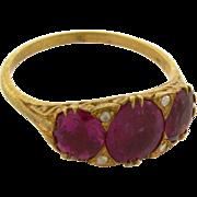 Vintage 15k Rose Gold Rubellite Tourmalines Diamonds Ring