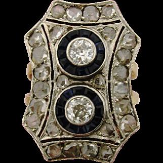 Original Art Deco 18k Diamonds Sapphires Platinum Ring