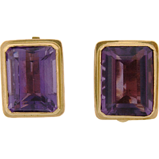 Vintage French 18k Yellow Gold Amethyst Earrings 20 Carats