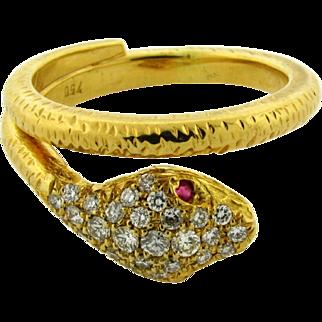 Vintage 18k Yellow Gold Diamond Ruby Snake Ring