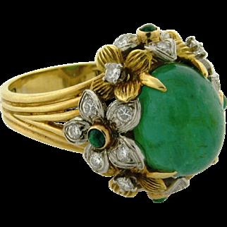 Art Nouveau 18k Yellow Gold Platinum Diamond 8.75 C Emerald Bombe Ring