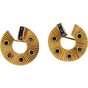 Pair Of Retro Vintage 14k Rose Gold Sapphire Brooches